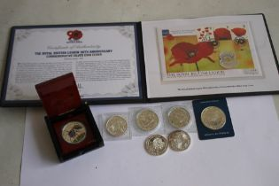 A COLLECTION OF MODERN SILVER COMMEMORATIVE COINS, to include a British Legion 2011 silver £5