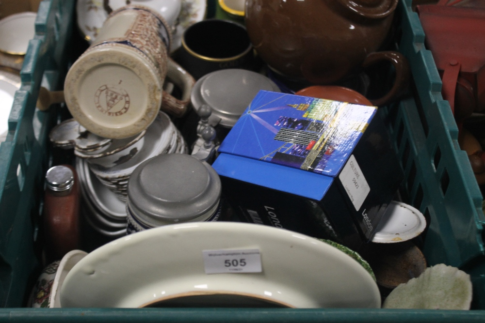 TWO TRAYS OF CERAMICS AND METALWARE TO INCLUDE STEINS (trays not included) - Image 2 of 3