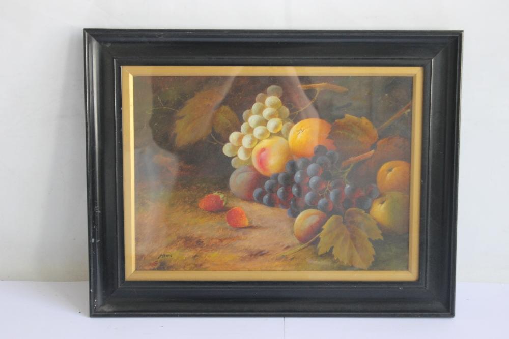 J. LEWIS STILL LIFE OIL PAINTING OF FRUIT, signed lower left, 39 x 50 cm including frame