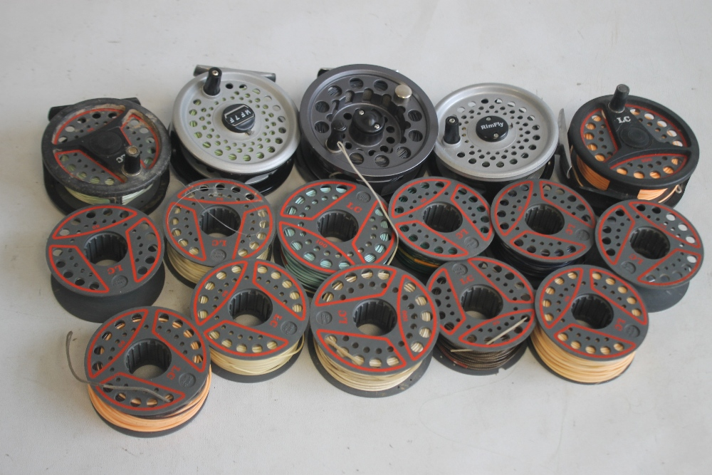 """5 LEEDA FLY REELS to include """"Mayfly,"""" """"Rimfly,"""" """"LC 100,"""" and """"LC 80"""" with spare spools¦Condition"""