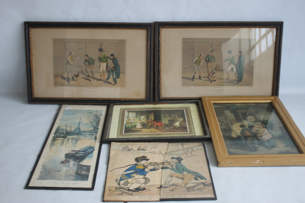 A QUANTITY OF PICTURES AND PRINTS to include an early 19th century Wheatley print, a pair of