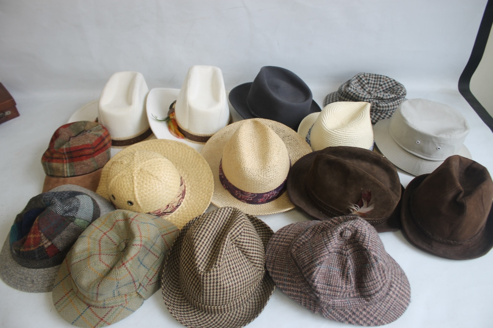 A COLLECTION OF HATS to include an Attaboy trilby, ladies' deerstalkers by Olney, Stormafit, Glen