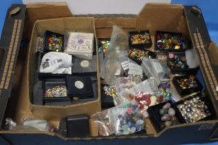 A TRAY OF COSTUME JEWELLERY MAKING ACCESSORIES to include stones