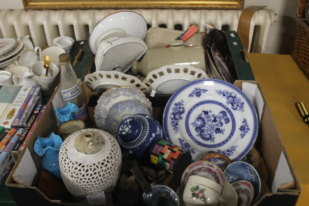 TWO TRAYS OF CERAMICS to include blue & white (trays not included)