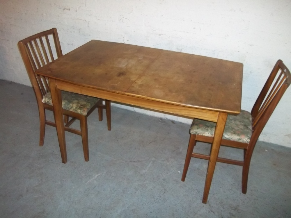 A TEAK EXTENDING DINING SET WITH TWO CHAIRS - Image 2 of 2