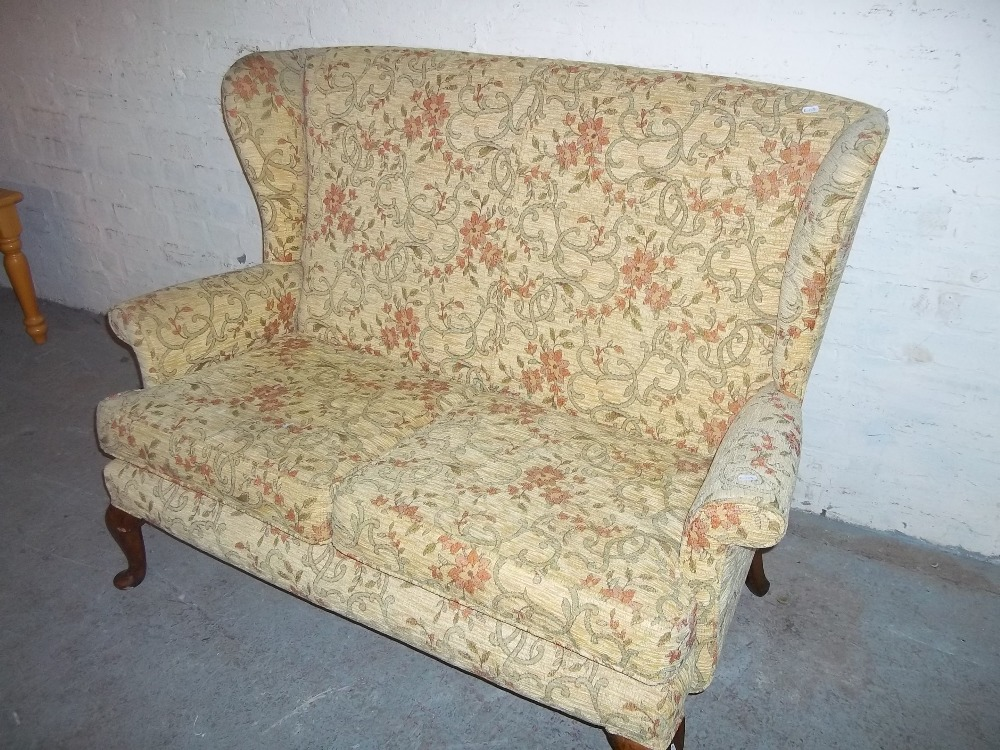 A FABRIC TWO SEATER SOFA WITH QUEEN ANN STYLE LEGS - Image 2 of 2