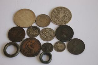 A SELECTION OF COINS ROMAN - 19TH CENTURY, to include a Roman radiate, 1569 sixpence, 1820 crown,