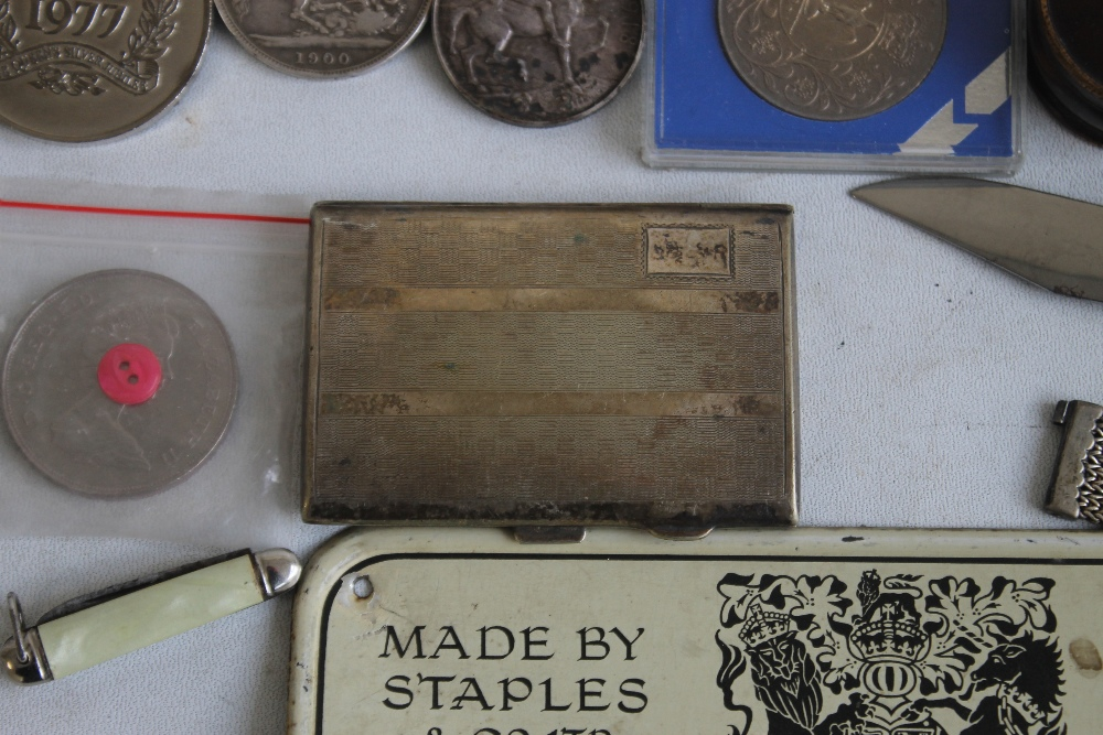 """A PAIR OF WWI MEDALS, NAMED TO """"50365 PTE J.E SMITH LAN FUS"""", along with a Victorian crown 1900, a - Image 4 of 6"""
