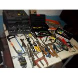 A SELECTION OF TOOLS AND TOOL BOXES WITH CONTENTS