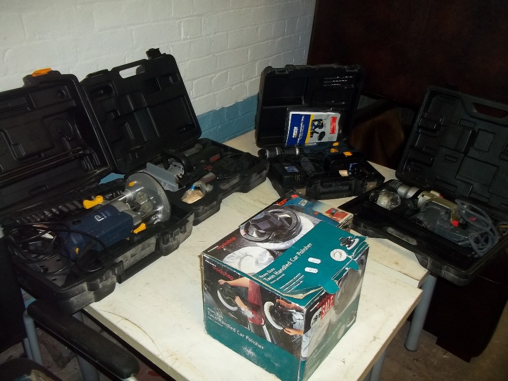 A SELECTION OF BOXED DIY POWER TOOLS INCLUDING A ROUTER AND AN INDUSTRIAL FREUD MORTICEU ETC.