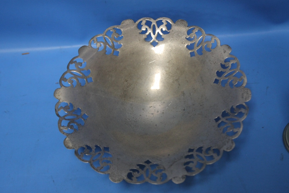 A HALLMARKED SILVER DISH together with a white metal picture frame, trophy etc. - Image 2 of 3