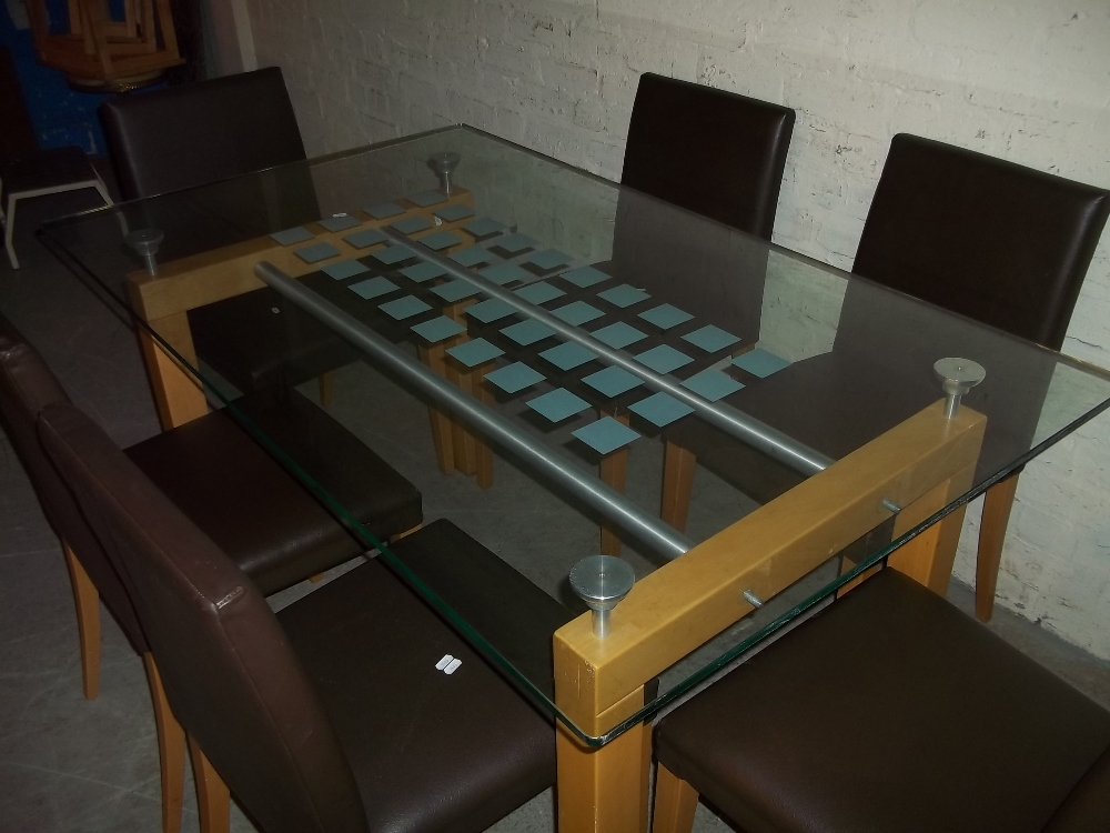 A GLASS DINING SET WITH SIX FAUX LEATHER CHAIRS - Image 2 of 5