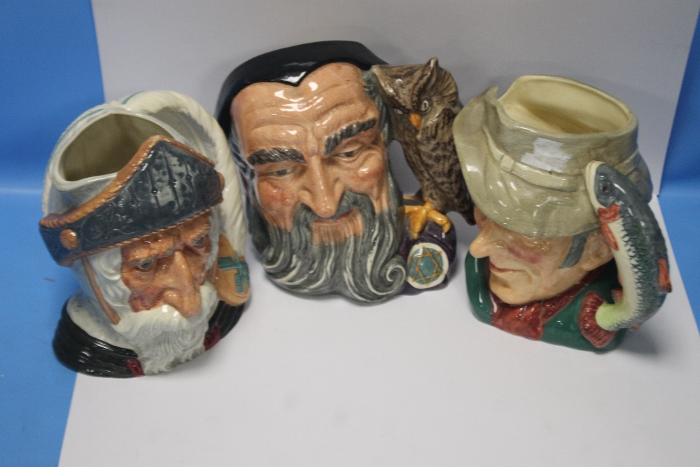 THREE ROYAL DOULTON CHARACTER JUGS to include The Poacher, Merlin and Don Quixote (3)