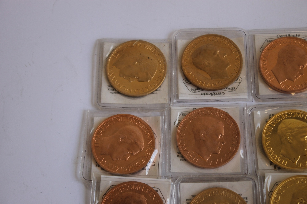 A COLLECTION OF EDWARD VIII REPLICA/FANTASY CROWN SIZE COINS, in bronze, golden alloy etc - Image 3 of 5