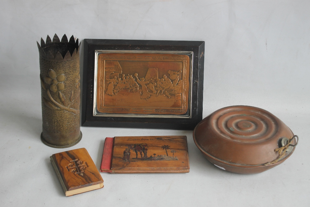 A SMALL BOX OF COLLECTABLES to include a shell case vase, a copper warmer, a framed metal plaque