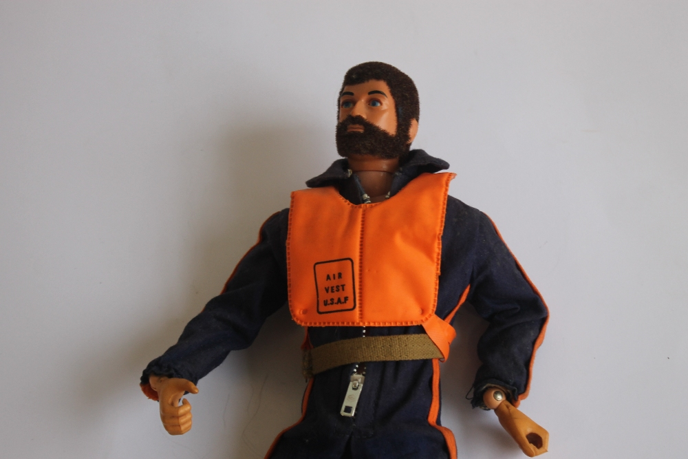 A VINTAGE ACTION MAN EAGLE EYES FIGURE WITH DARK FLOCK HAIR AND BEARD, in flying suit and USAF - Image 2 of 3