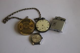 A HALLMARKED SILVER OPEN FACE POCKET WATCH, together with a Roamer Anfibio wrist watch, cigarette