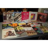 A COLLECTION OF RECORDS to include The Beatles Red Album and Blue Album, Johnny Cash, Emile Ford,