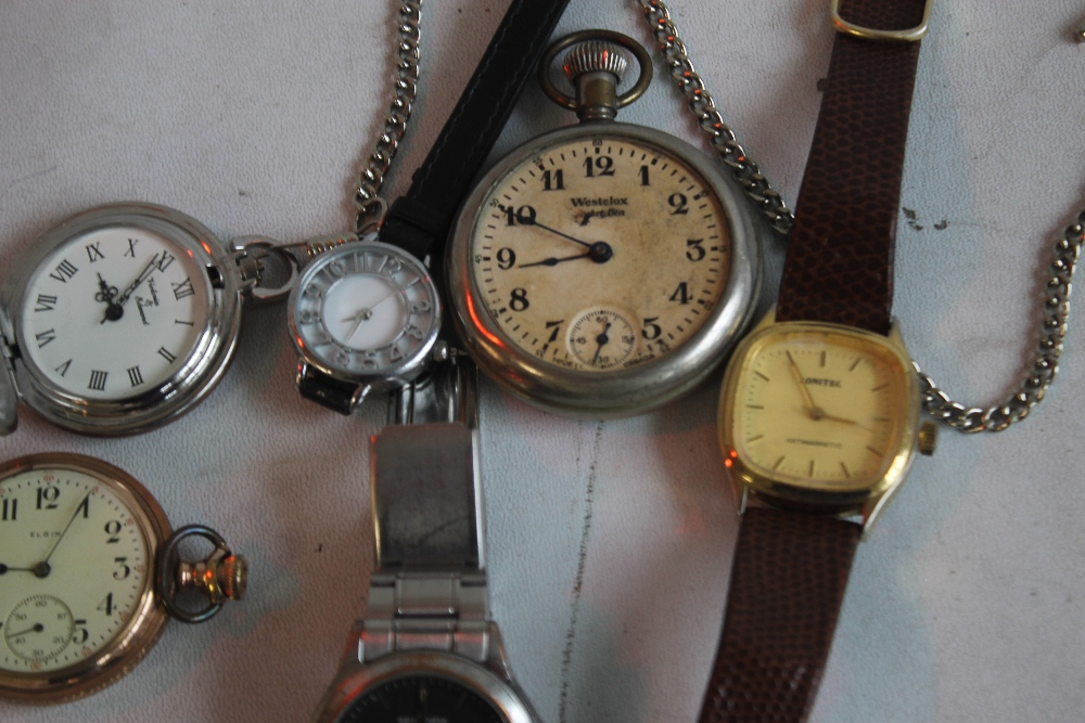 AN ELGIN GOLD PLATED HUNTER POCKET WATCH and two others together with a small quantity of wrist - Image 2 of 4