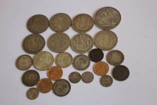 A COLLECTION OF 19TH/20TH CENTURY BRITISH COINS, to include 1893 crown, 3 1890 farthings and a