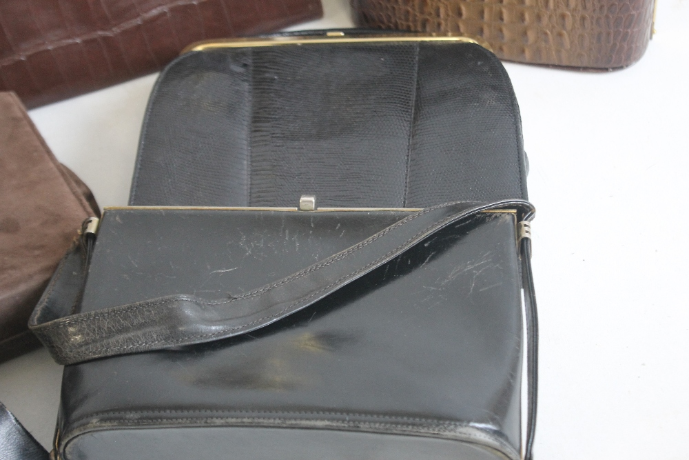 A BLACK LIZARD SKIN HANDBAG of unknown make together with a Meadows brown suede handbag and - Image 5 of 6