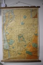 A WALL MAP OF ADELAIDE AND ENVIRONS 73 CM X 109 CM