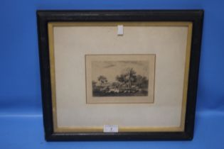 A SMALL FRAMED AND GLAZED ENGRAVING OF A COUNTRY SCENE 39 CM X 35 CM