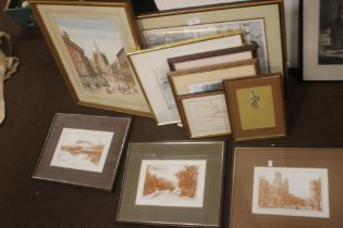 """A FRAMED AND GLAZED WATERCOLOUR TITLED """"CHURCH STREET OLD ORMSKIRK"""", SIGNED W TOMLINSON, TOGETHER"""