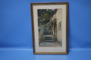 H PERCY HEARD FRAMED AND GLAZED WATERCOLOUR OF A COTTAGE AND GARDEN SIGNED LOWER LEFT 30 CM X 44.5