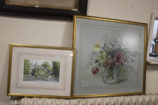 A FRAMED AND GLAZED WATERCOLOUR OF A VASE AND FLOWERS SIGNED BARBARA CROWE, TOGETHER WITH A