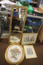A GILT FRAMED WALL MIRROR ALONG WITH TWO VICTORIAN STYLE PRINTS AND A EMBROIDERED PICTURE