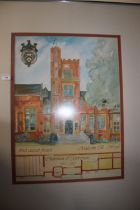 """A FRAMED AND GLAZED PICTURE OF A WOLVERHAMPTON GRAMMAR SCHOOL TOGETHER WITH A PRINT TITLED """""""