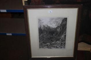 A FRAMED AND GLAZED ENGRAVING OF A MOUNTAIN SCENE SIGNED FAUSTNER 1880 64 1/2 CM X 76 CM