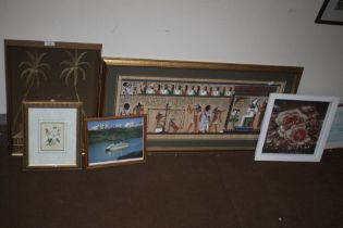 AN EGYPTIAN STYLE PAINTING TOGETHER WITH 5 OTHER PICTURES