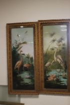 A PAIR OF VICTORIAN PICTURES OF BIRDS PAINTED ON GLASS ONE DEPICTING FLAMINGOS THE OTHER OF STORKS