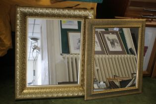 TWO MODERN GILT FRAMED WALL MIRRORS THE LARGEST 57 CM X 67 CM