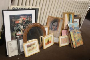 A QUANTITY OF ASSORTED PICTURES, PRINTS, AND MIRRORS,