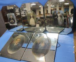 FIVE W.SS. LAURIE WOLVERHAMPTON VINTAGE FAMILY PORTRAIT PICTURE MIRRORS, three octagonal 48 cm x