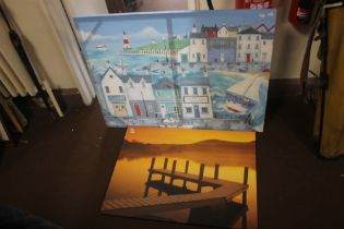 TWO PRINTS ON CANVASS ONE DEPICTING A SEASIDE SCENE THE OTHER OF A JETTY