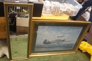 A FRAMED AND GLAZED COULSON PRINT DEPICTING HURRICANES TOGETHER WITH A MIRROR