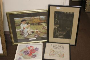 TWO FRAMED PRINTS TOGETHER WITH TWO EMBROIDERED PICTURES