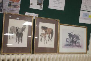 THREE FRAMED AND GLAZED PATRICK OXENHAM PRINTS TWO OF DONKEYS ONE OF HORSES