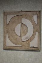 ABSTRACT MIXED MEDIA ON BOARD, SIGNED BOLESLAW UTKIN, 63 X 62 cm
