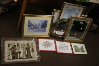 A QUANTITY OF ASSORTED PICTURES, PRINTS AND A CIRCULAR WALL MIRROR