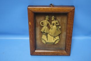 A FRAMED 19TH CENTURY BRONZED PLAQUE OF A COUPLE IN A WALNUT FRAME, INSCRIPTION TO REVERSE, THIS