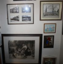 """A FRAME OF FOUR PHOTOGRAPHS OF WOMBOURNE ETC TOGETHER WITH A FRAMED AND GLAZED ENGRAVING SIGNED """""""