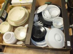 TWO TRAYS OF ASSORTED CERAMICS TO INCLUDE A QUANTITY OF ROSENTHAL TAPIO WIRK KALA DINNER WARE