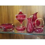 A COLLECTION OF RED GLASSWARE (8)