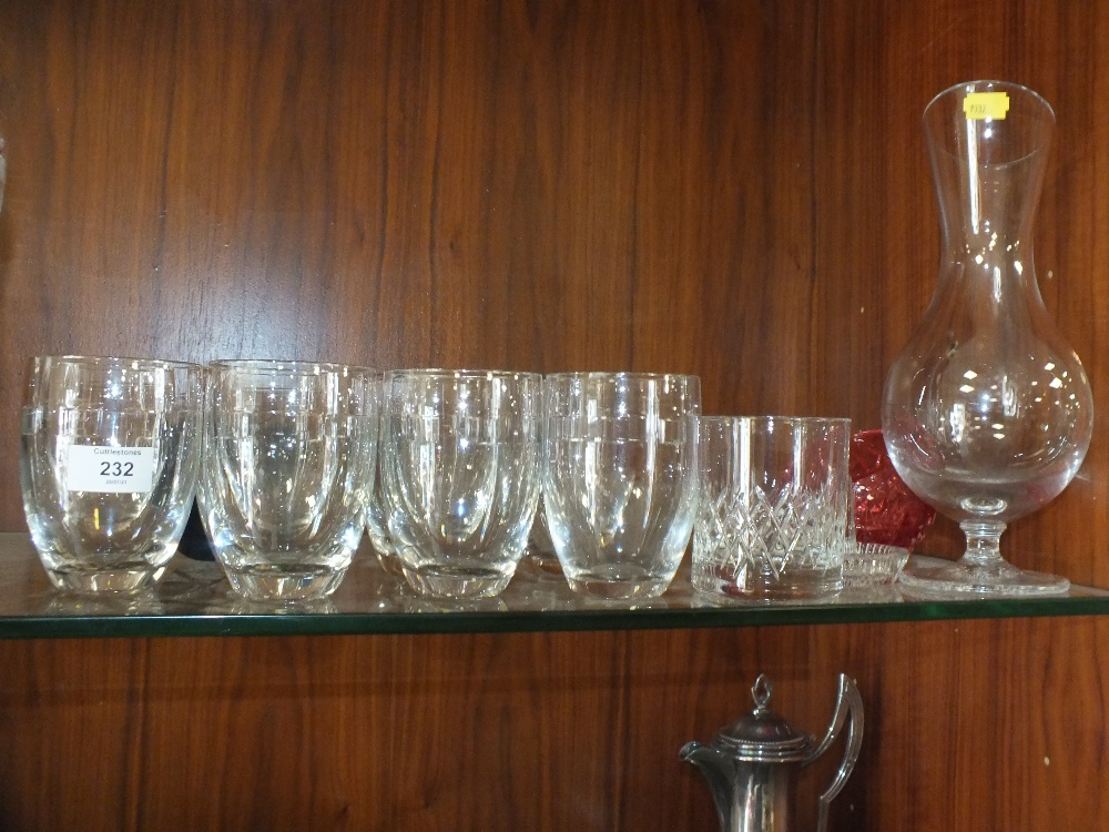 A SET OF EIGHT JOHN ROCHA WATERFORD CRYSTAL DRINKING GLASSES TOGETHER WITH A DECANTER ETC. (12)