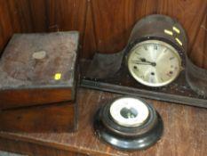 A VINTAGE WRITING SLOPE, A SHORT MASON BAROMETER AND A NAPOLEON HAT MANTEL CLOCK (3)
